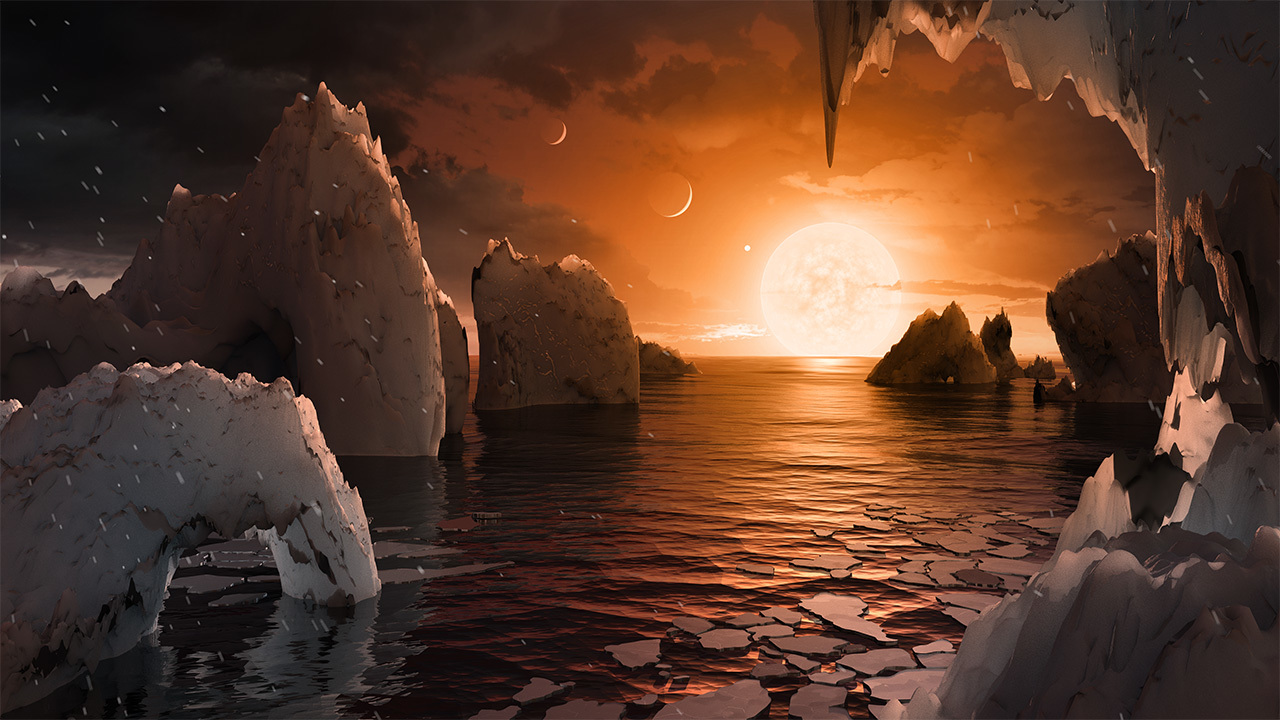 Artist's illustration from the surface of one of the TRAPPIST-1 planets.