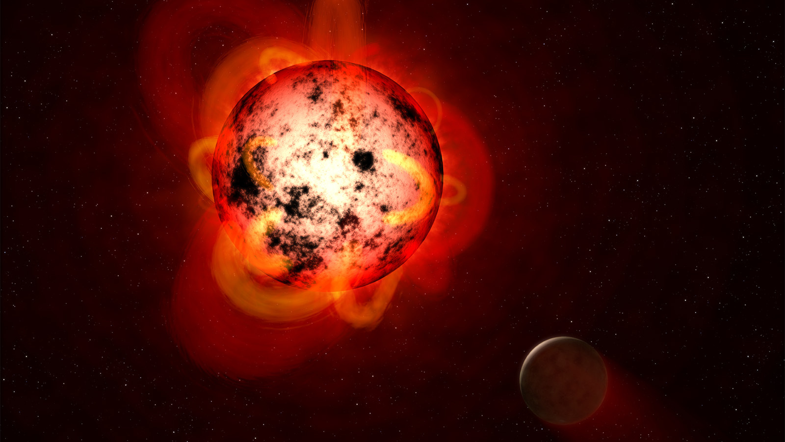 Illustration of red dwarf star and its planet.