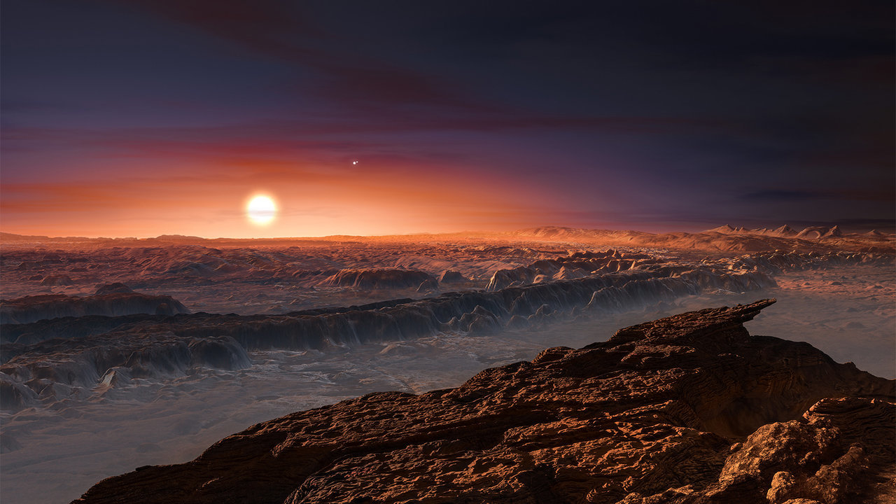 An illustrated view of a possible exoplanet surface.