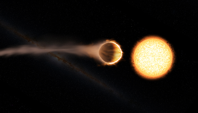 This artist's concept shows hot Jupiter WASP-121b, which presents the best evidence yet of a stratosphere on an exoplanet.
