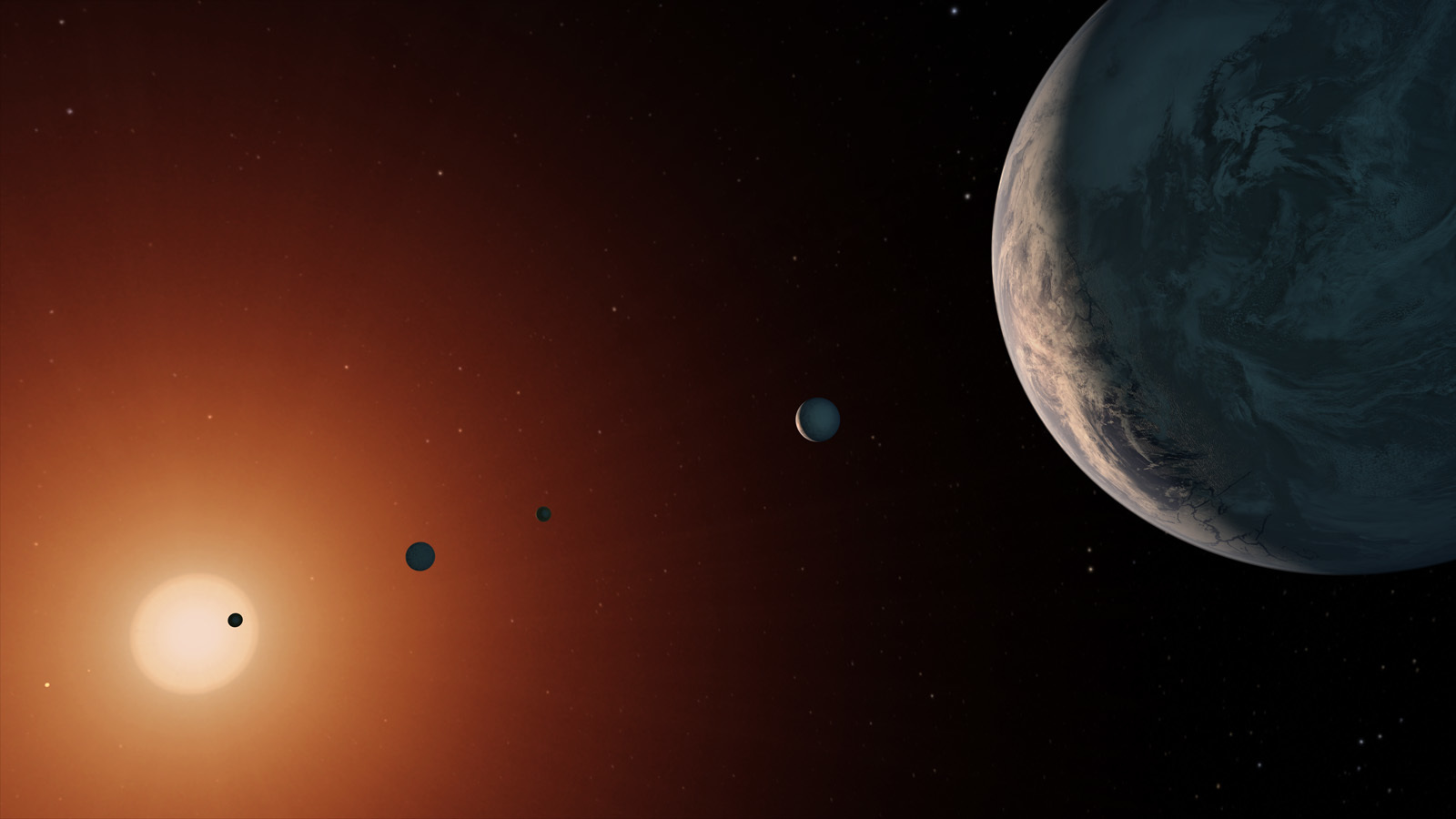 Illustration of TRAPPIST-1 system from space.