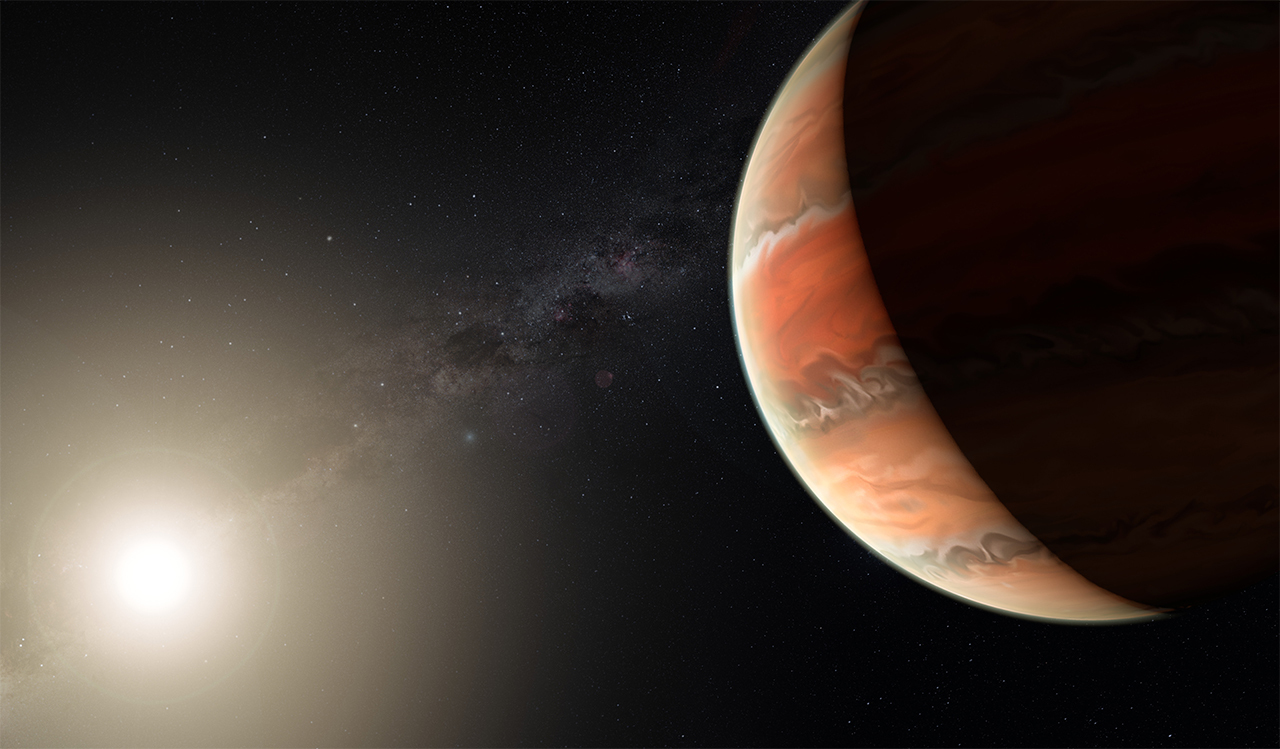 Illustration of a hot planet close to its star