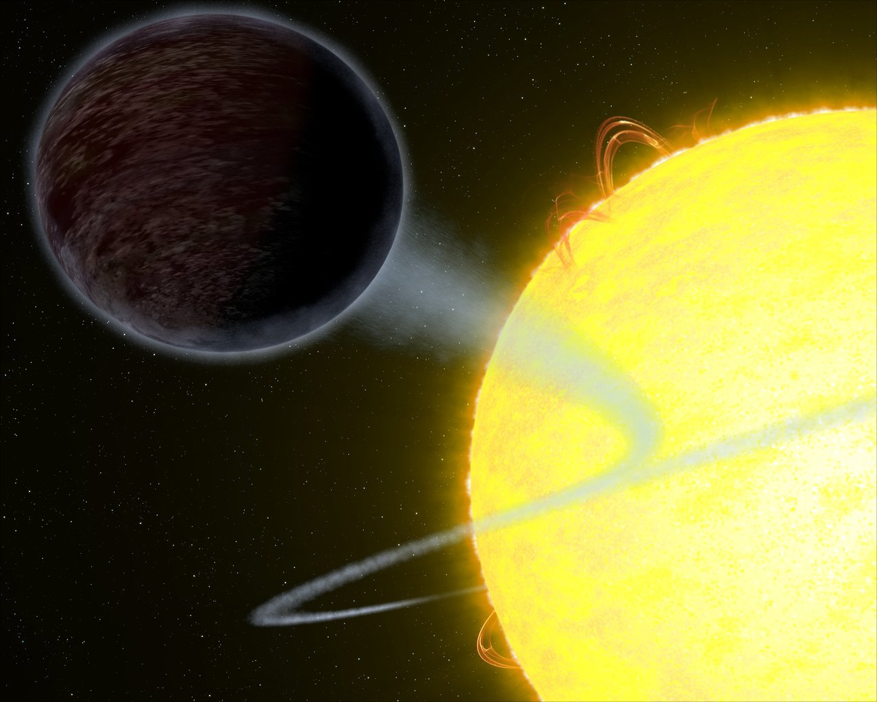 Illustration of a black planet orbiting its star.