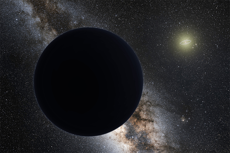 An artist's illustration of a possible ninth planet in our solar system