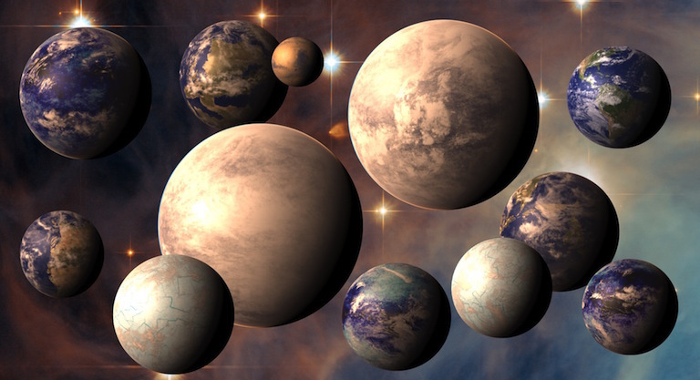 Artist's rendering of potentially habitable exoplanets, plus Earth (top right) and Mars (top center). Image credit: PHL@UPR Arecibo (phl.upr.edu), ESA/Hubble, NASA.