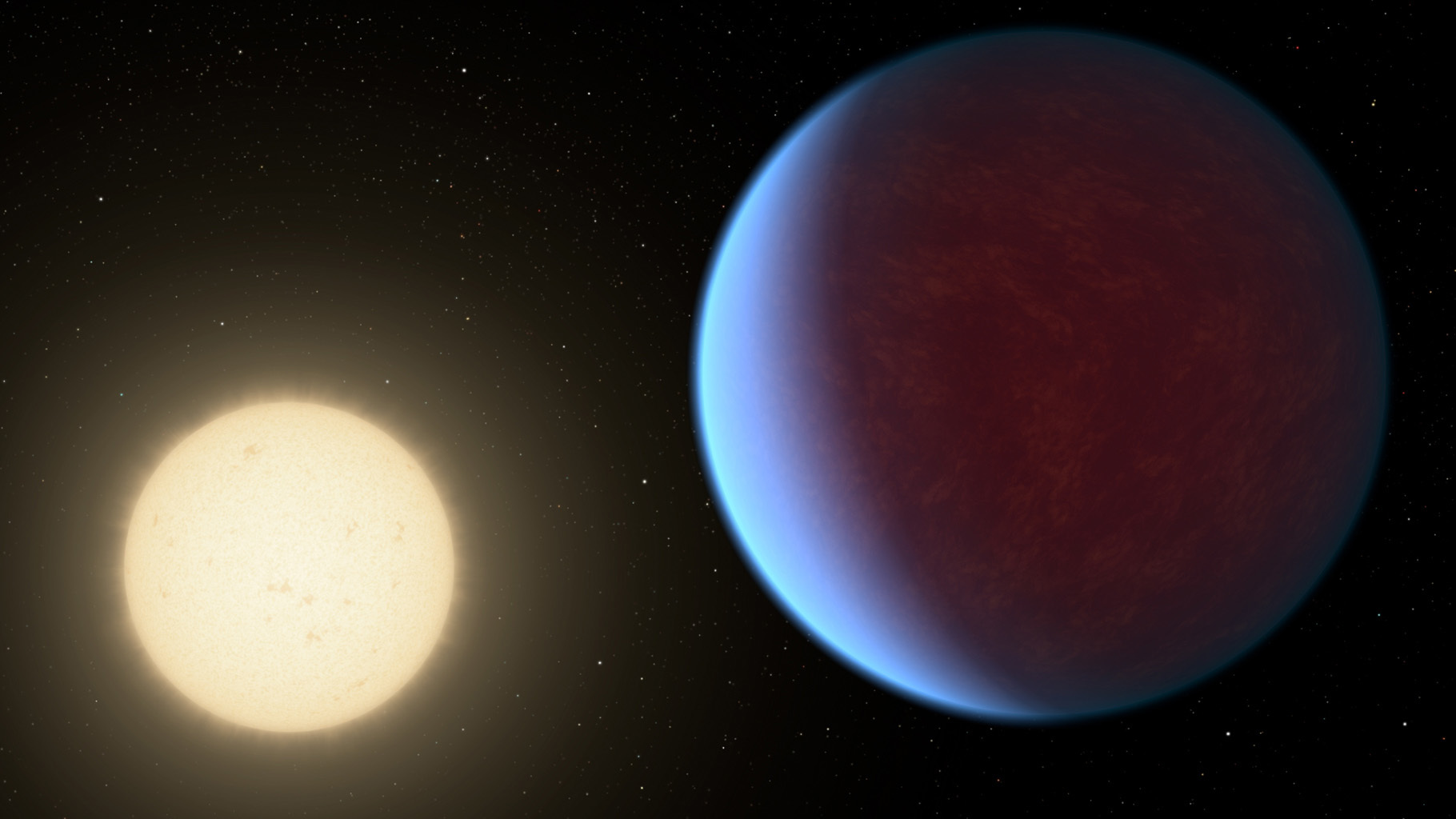 Illustration of a hazy blue planet around a yellow star.