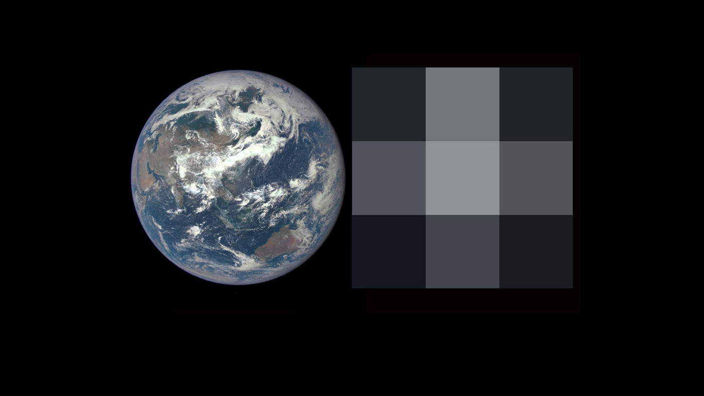 Earth as a pixel of light