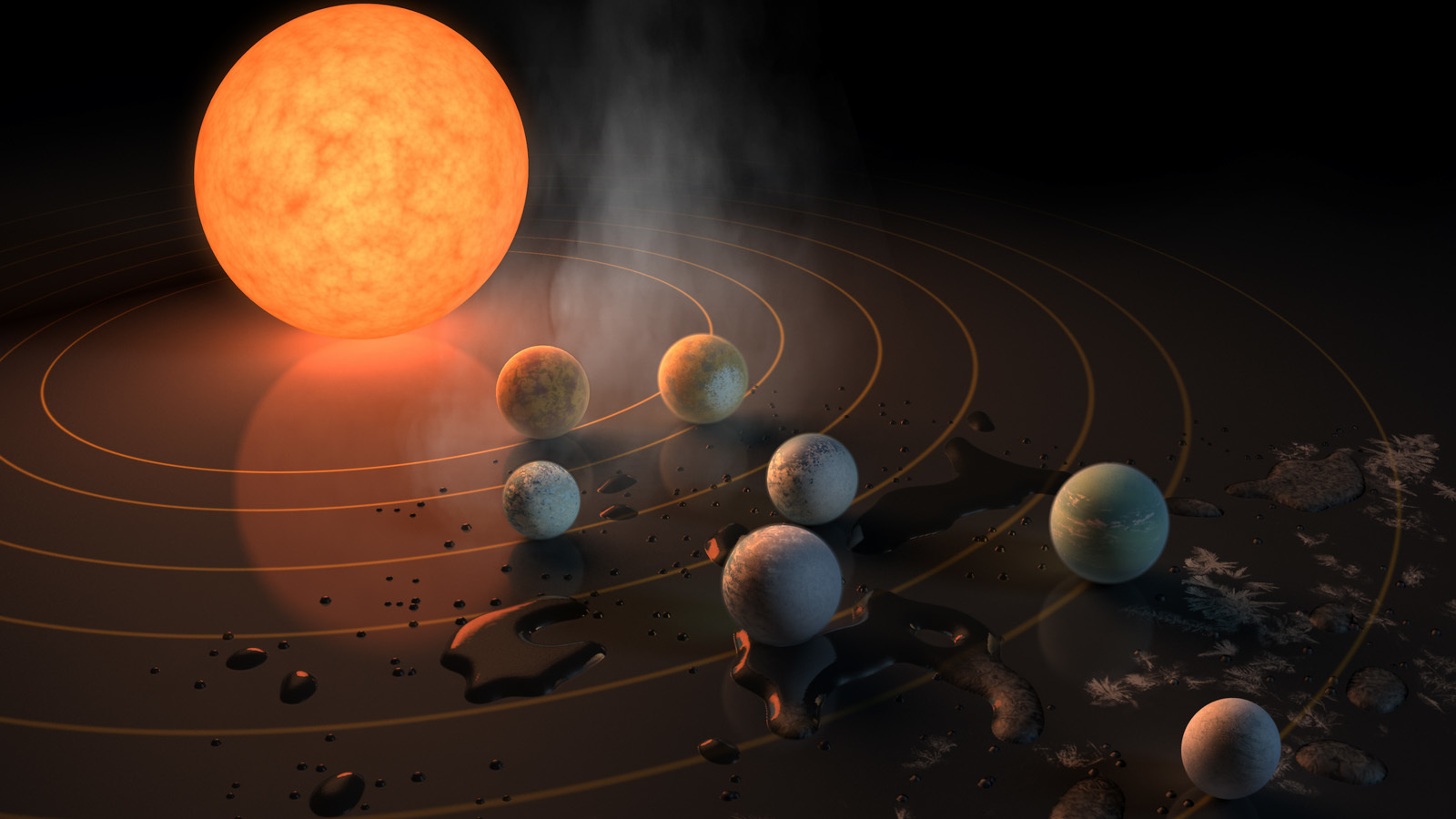 Illustration of the TRAPPIST-1 planets