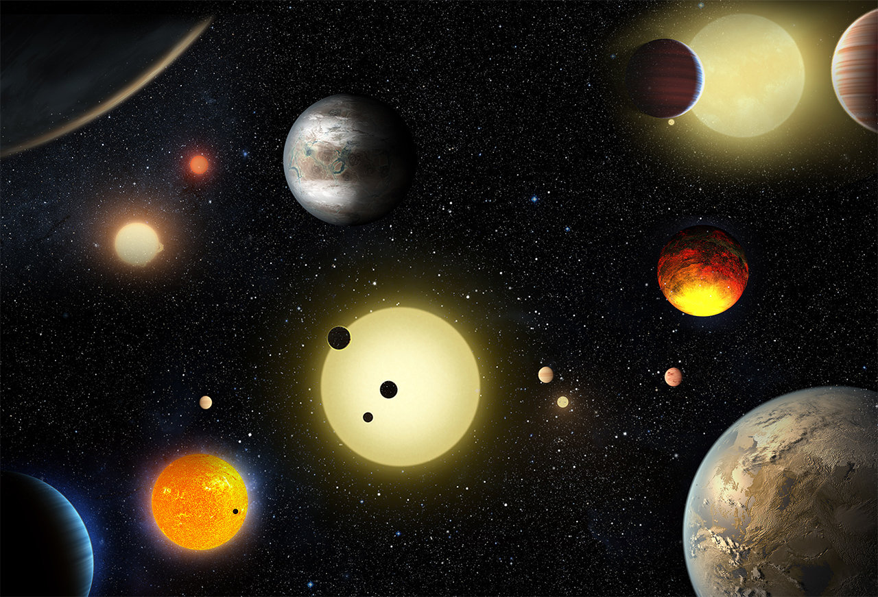 Illustration of planets the Kepler telescope has found.