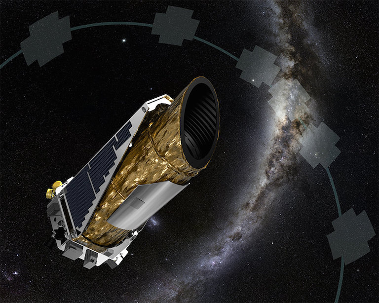 Artist's rendering of the NASA's Kepler space telescope and the observation pattern for its present mission, called K2. Image credit: NASA