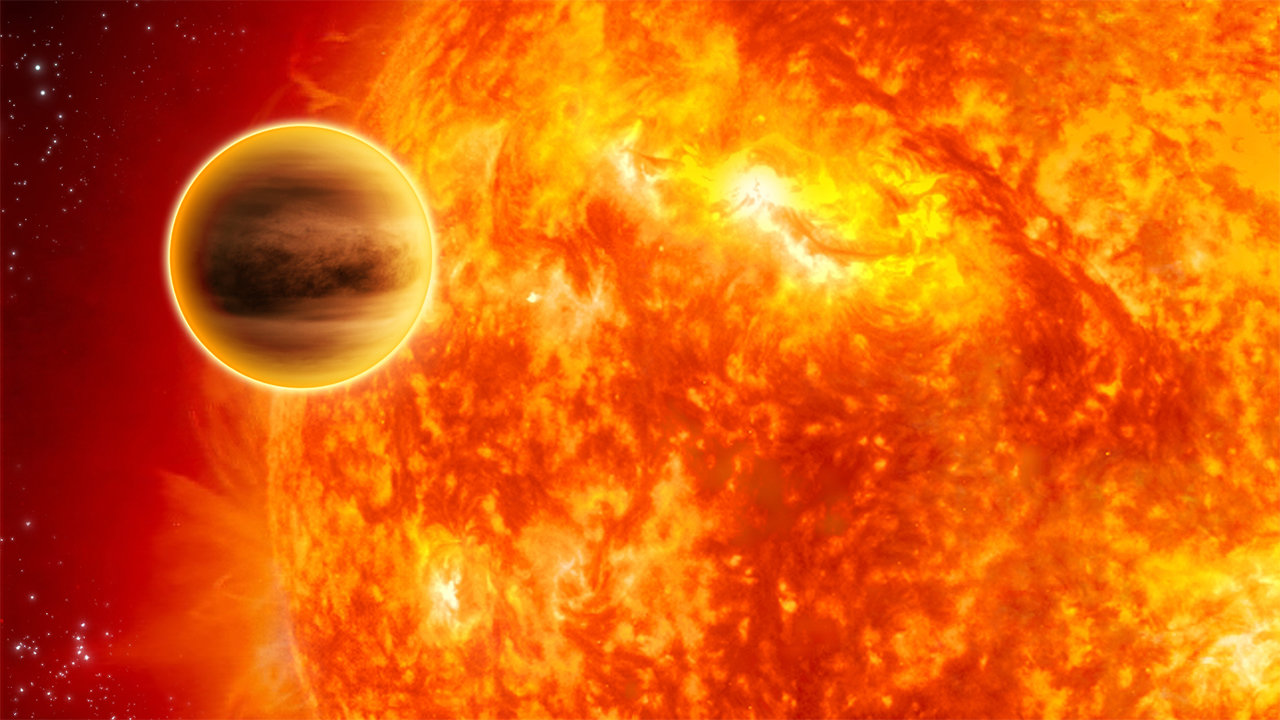 Illustration of a hot exoplanet.