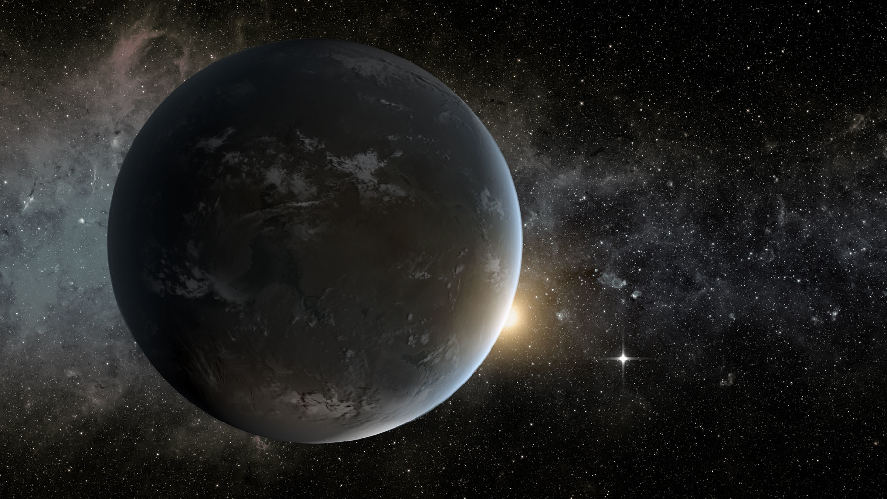 Illustration of a grey planet with a star.