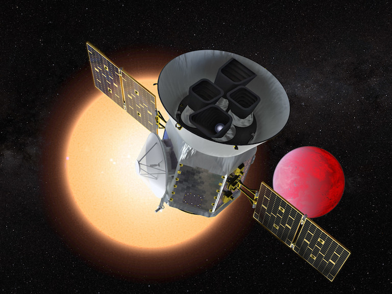 Artist's rendering of the Transiting Exoplanet Survey Satellite (TESS). Image credit: NASA.