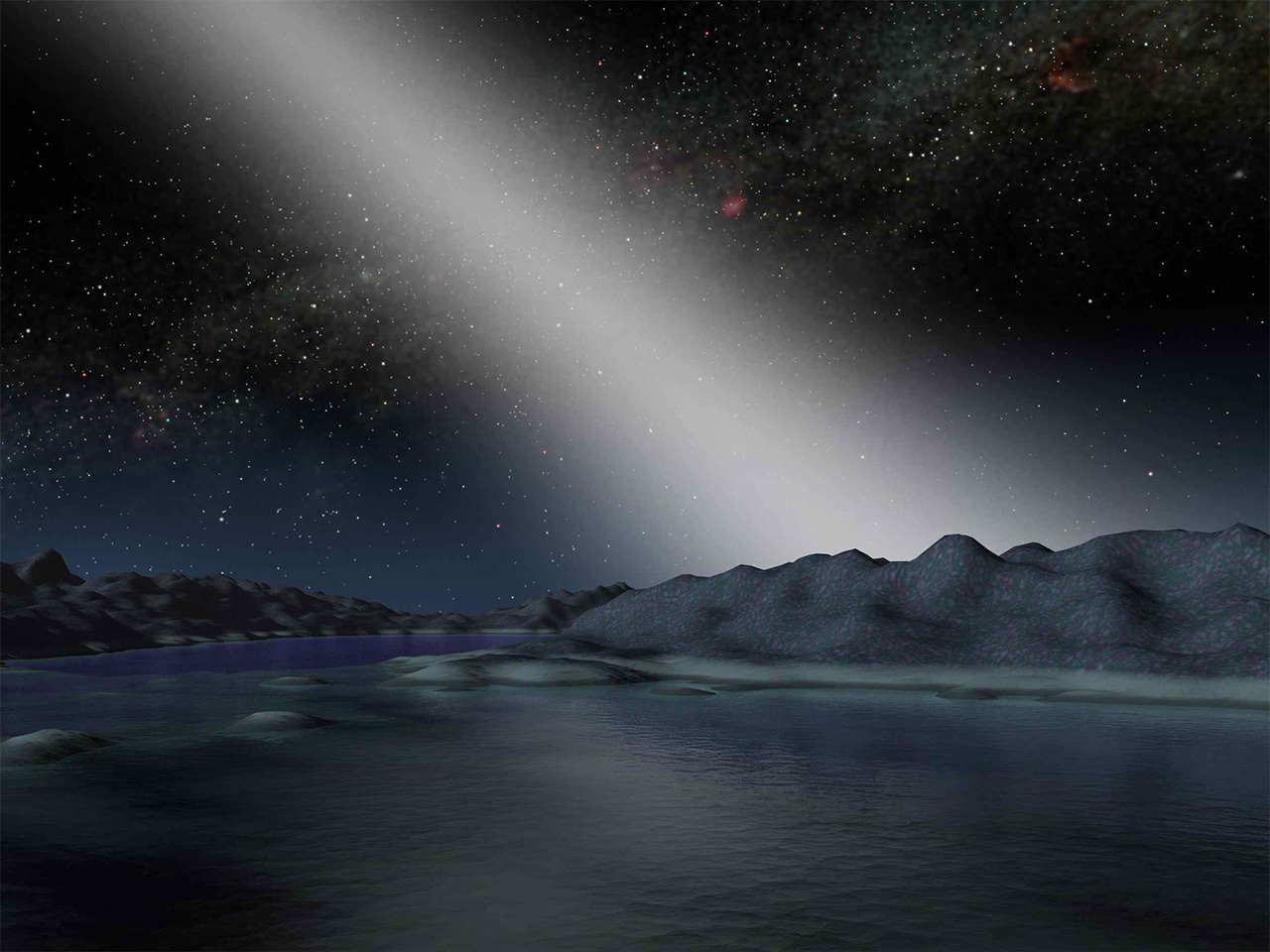 Illustration from a planet's surface of the night sky.