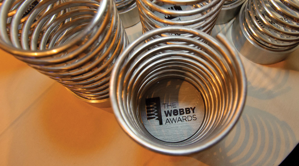 Photo of the trophies from the Webby Awards
