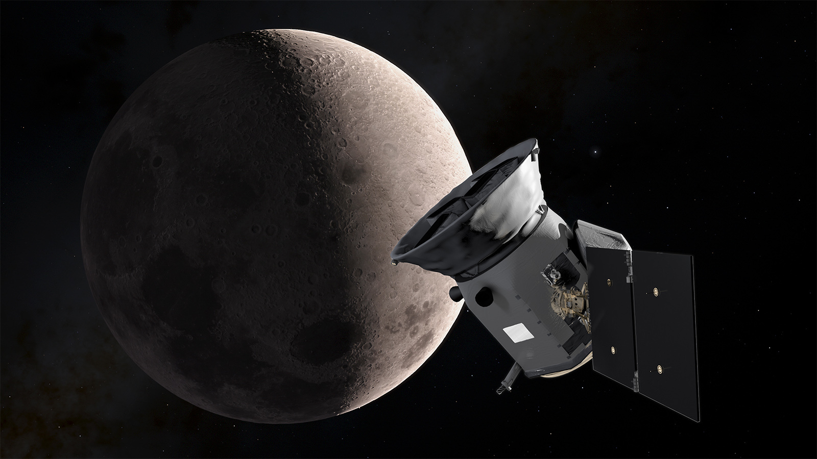 An illustration of TESS and the Moon.