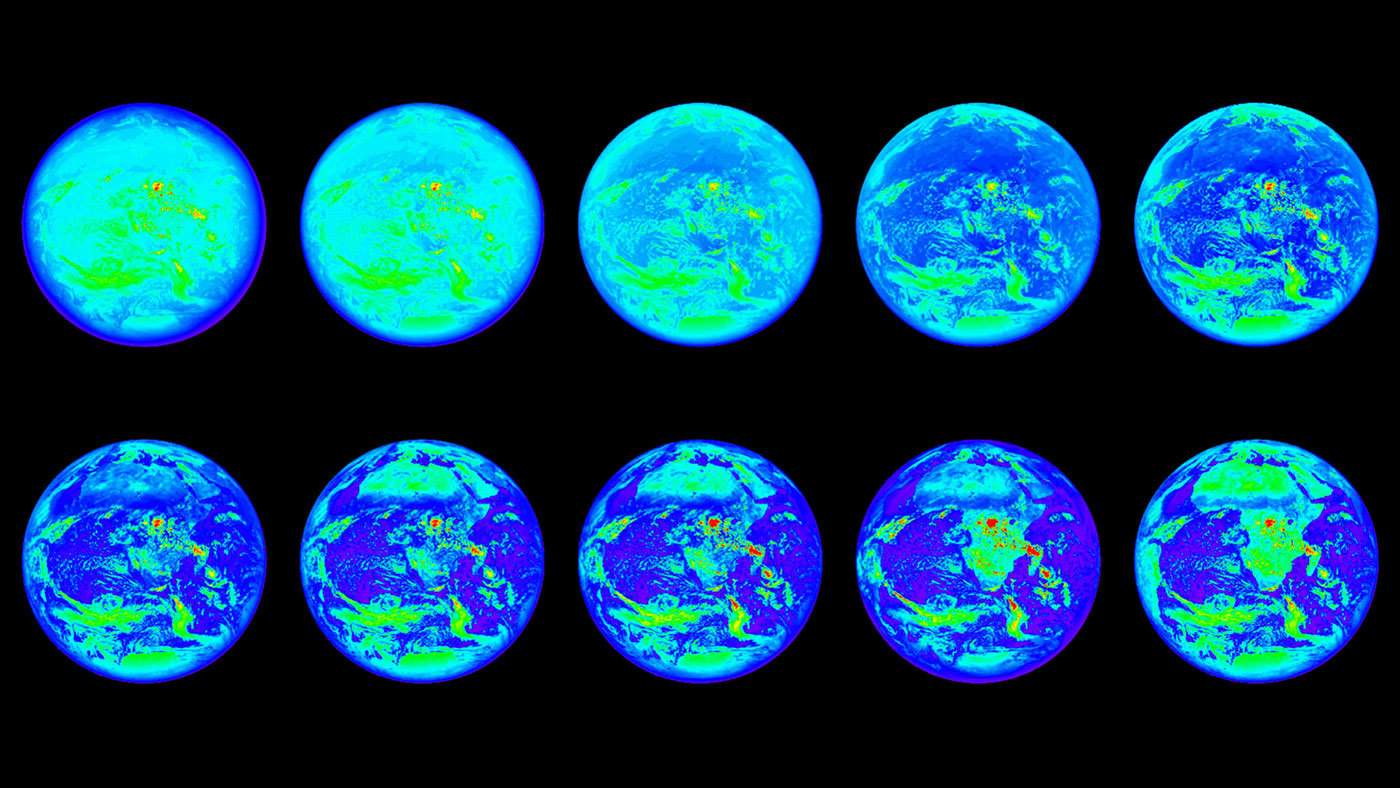 Images of the Earth in different wavelengths.
