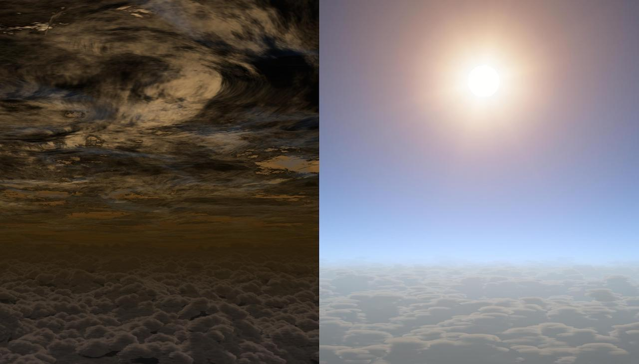Two illustrations of possible exoplanet skies