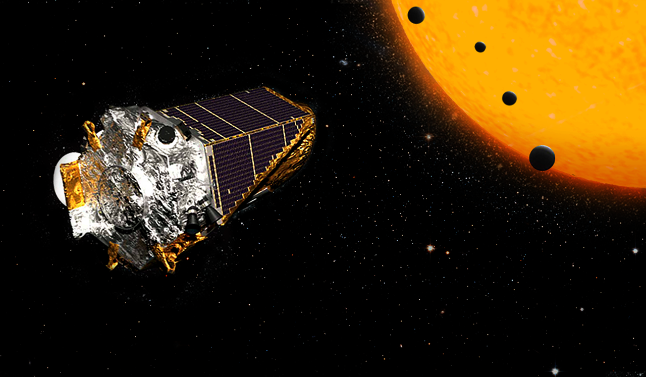 In an artist's rendering, the Kepler space telescope is seen in front of a yellow star and transiting exoplanets.