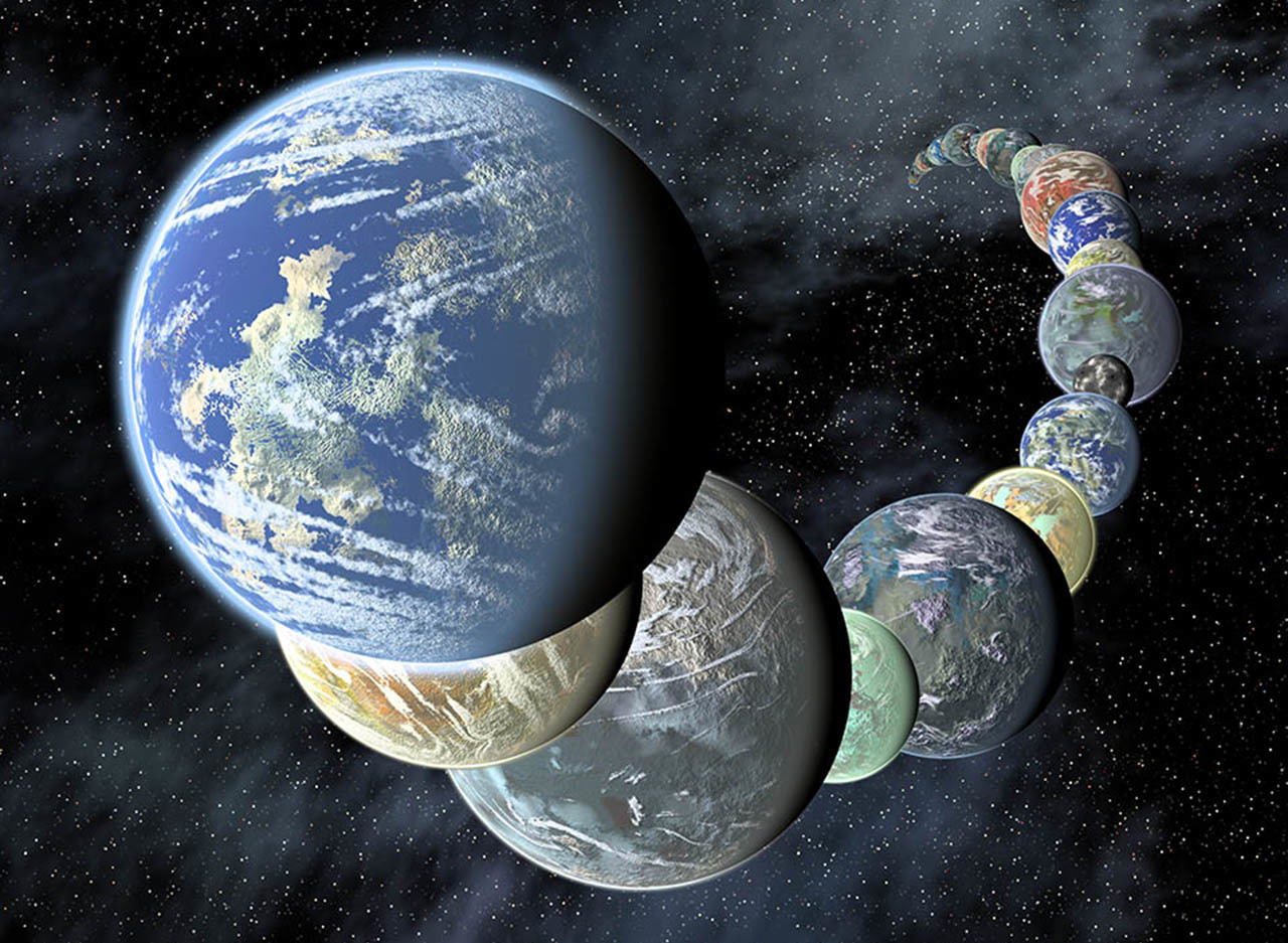 An artist's illustration of rocky planets.