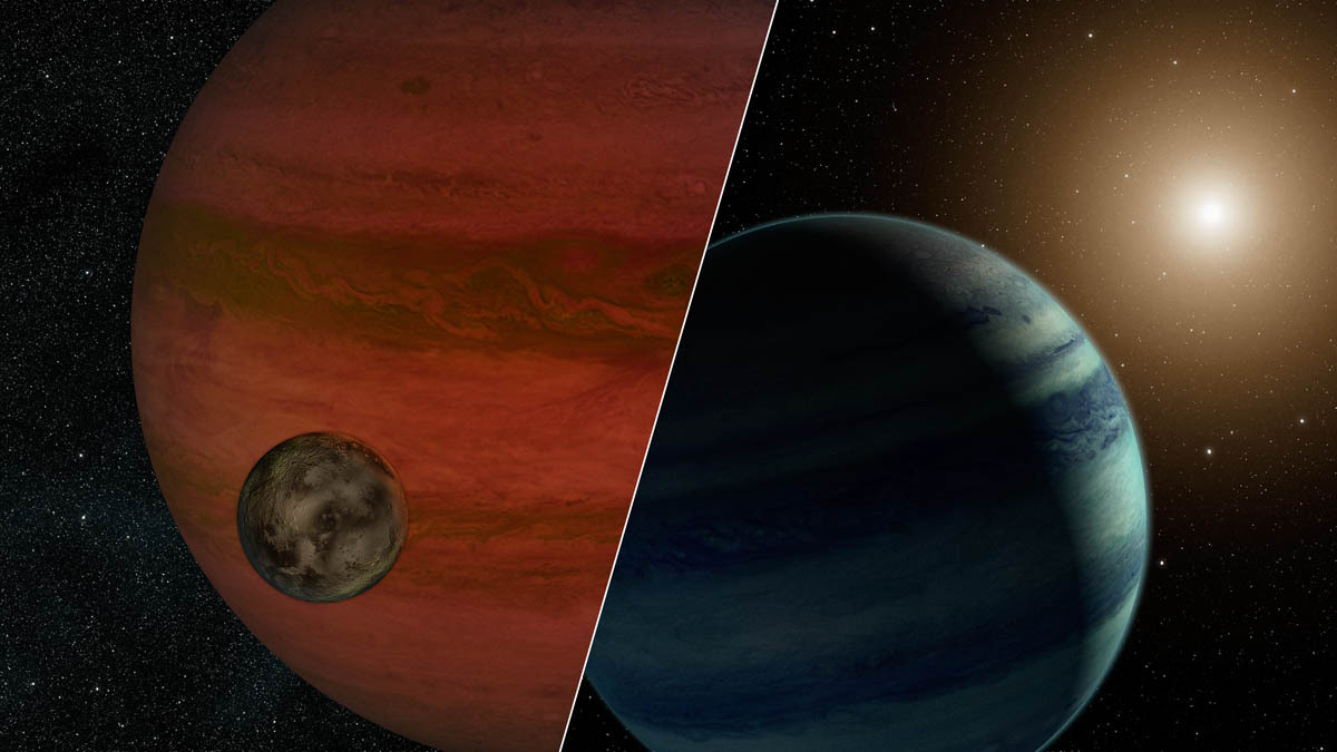 "Researchers have detected the first ""exomoon"" candidate -- a moon orbiting a planet that lies outside our solar system. Using a technique called ""microlensing,"" they observed what could be either a moon and a planet -- or a planet and a star. This artist's conception depicts the two possibilities, with the planet/moon pairing on the left, and star/planet on the right. If the moon scenario is true, the moon would weigh less than Earth, and the planet would be more massive than Jupiter."