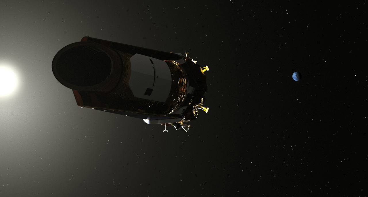 An artist's depiction of the Kepler space telescope in orbit around Earth.