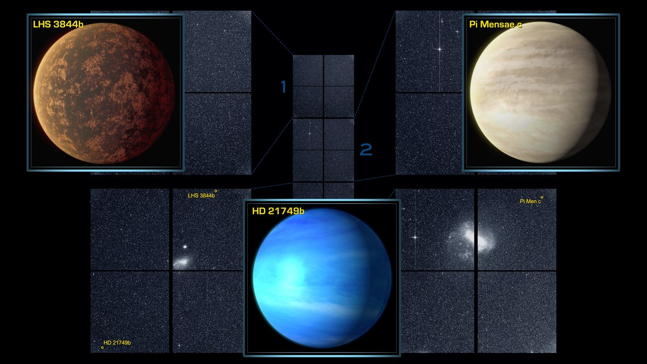 A sector of sky imaged from the four cameras on TESS showing a grid of dark sky, with three planets appearing as small dots of light amid the stars.