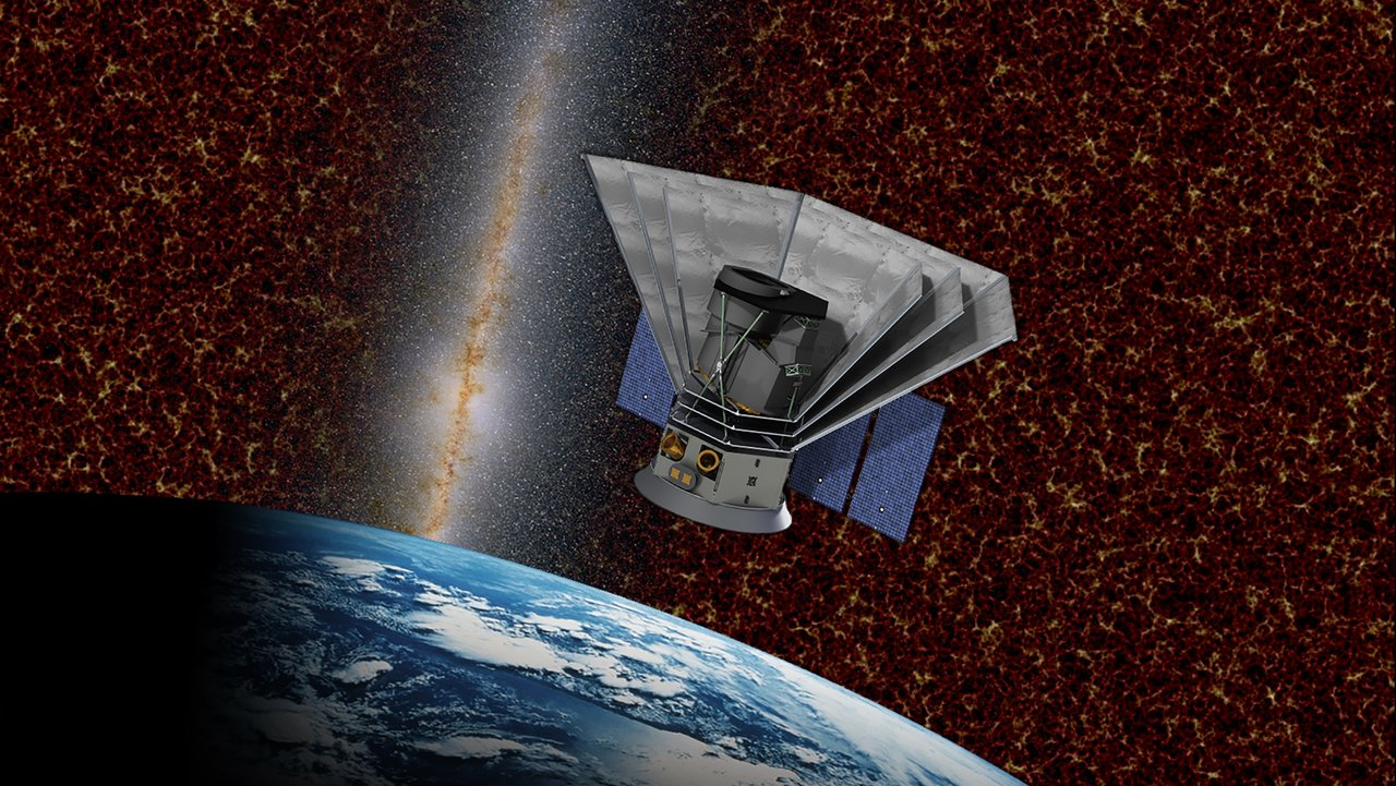 An artist's rendering shows a small spacecraft in orbit around Earth.