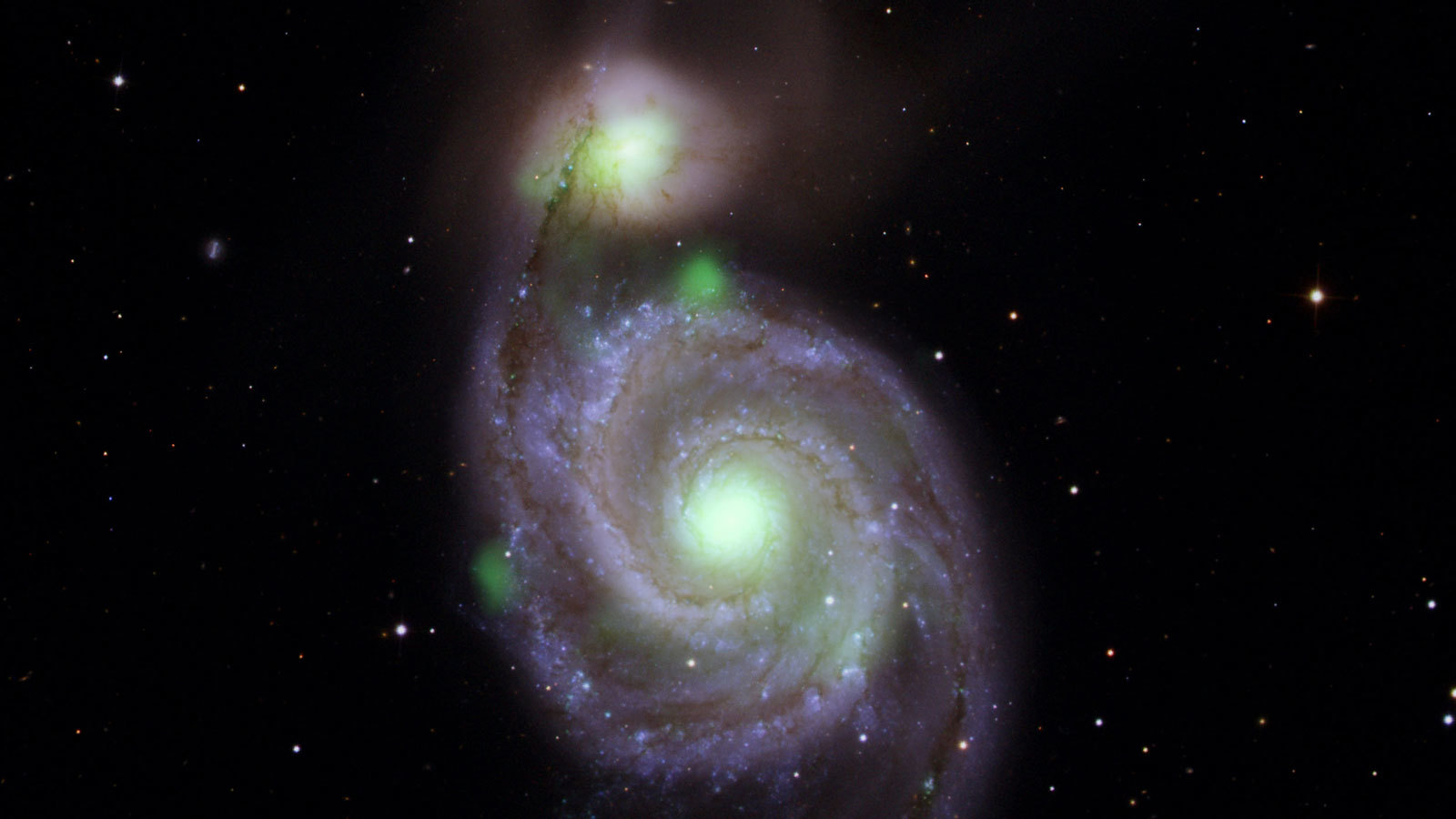 Merging galaxies seen by NASA's NuSTAR mission. Whirlpool galaxy and M51b.