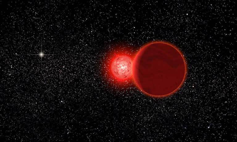 Artist's conception of Scholz's star, and its brown dwarf companion (foreground), during a flyby of our solar system some 70,000 years ago. Image credit: Michael Osadciw/University of Rochester