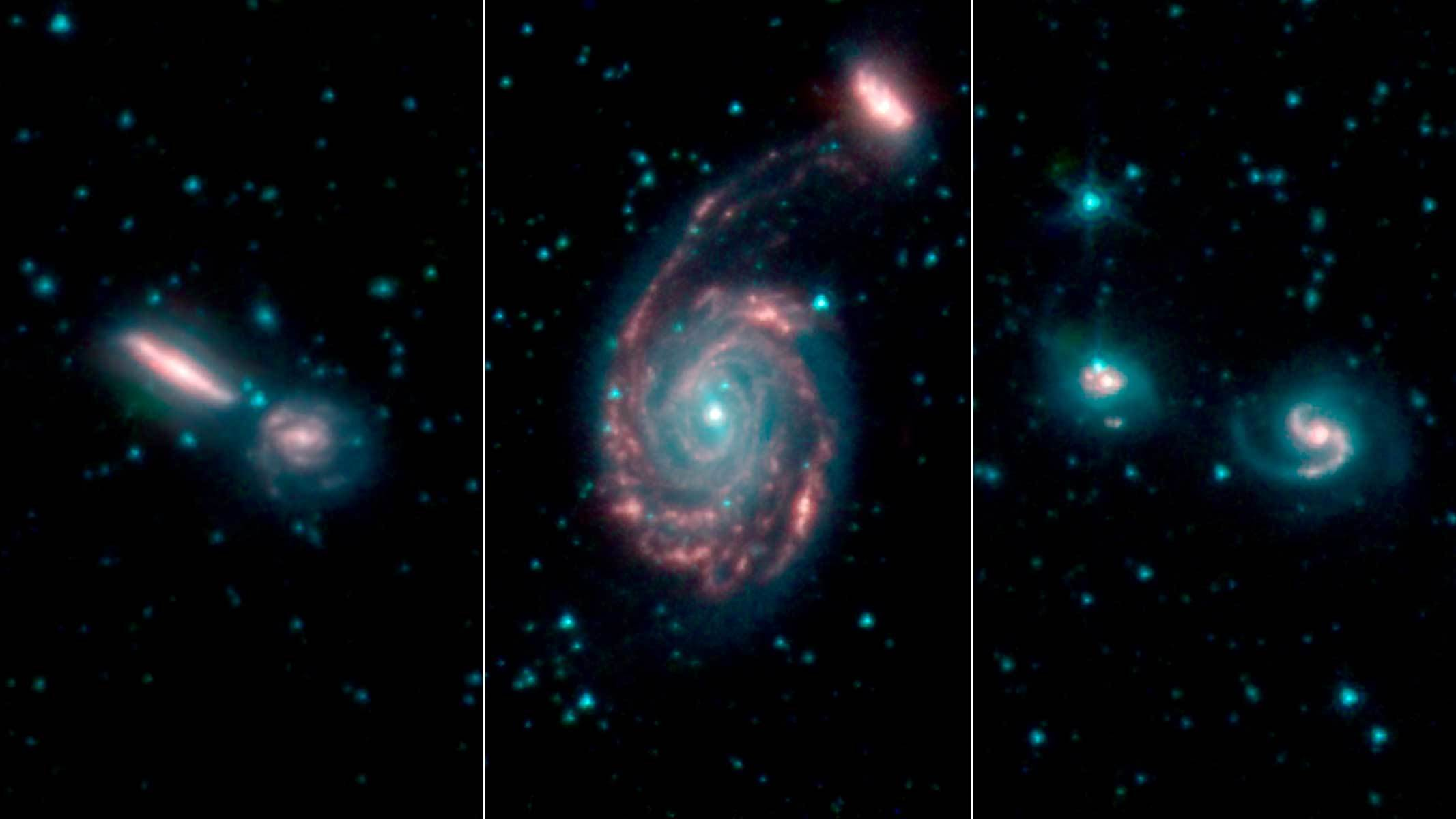 Three images are shown showing swirling galaxies seen by NASA's Spitzer space telescope.
