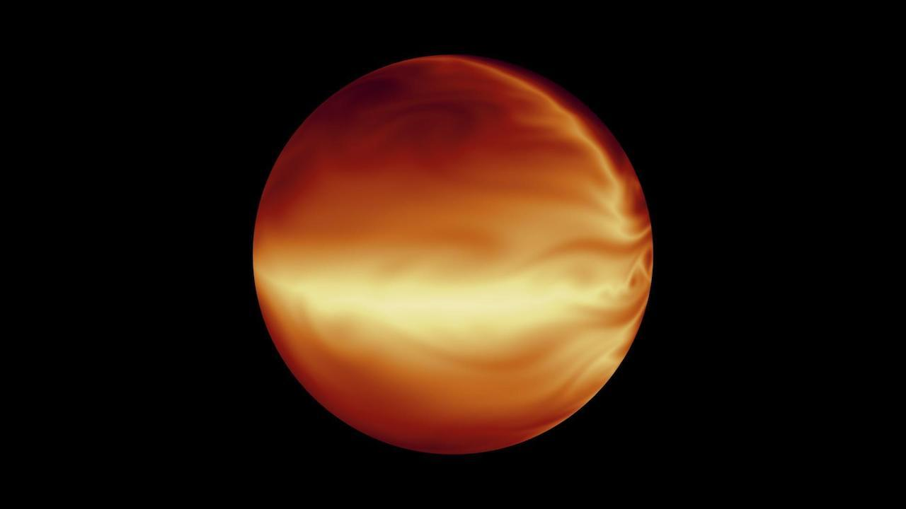 "Simulation of turbulent atmosphere in a ""hot Jupiter"" exoplanet."
