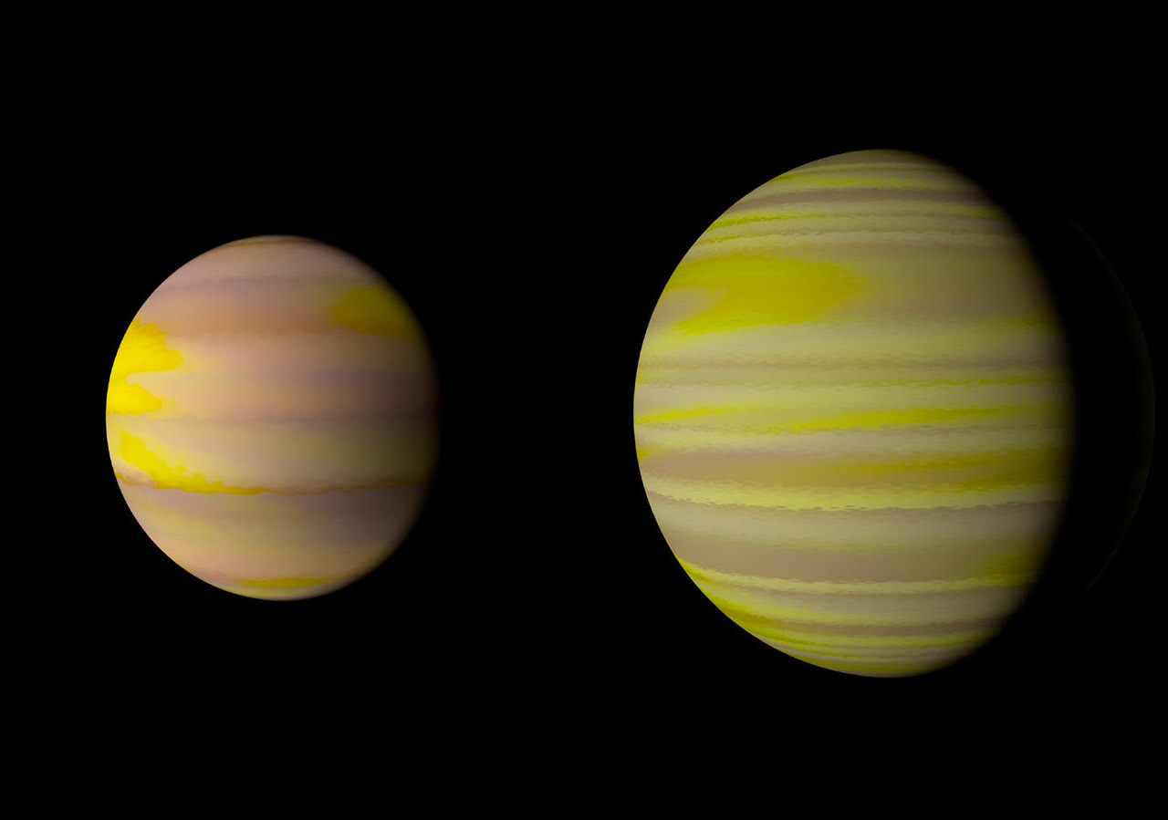 Illustration of two gas giant exoplanets from NASA