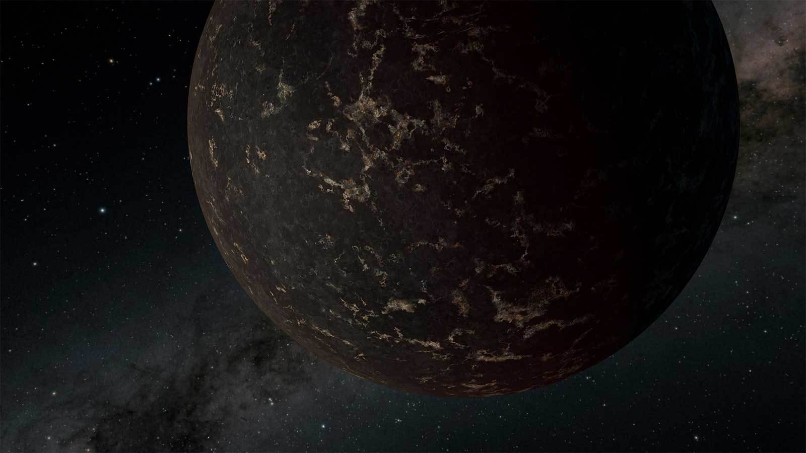 This artist's illustration depicts the exoplanet LHS 3844b as dark and covered in cooled volcanic material.