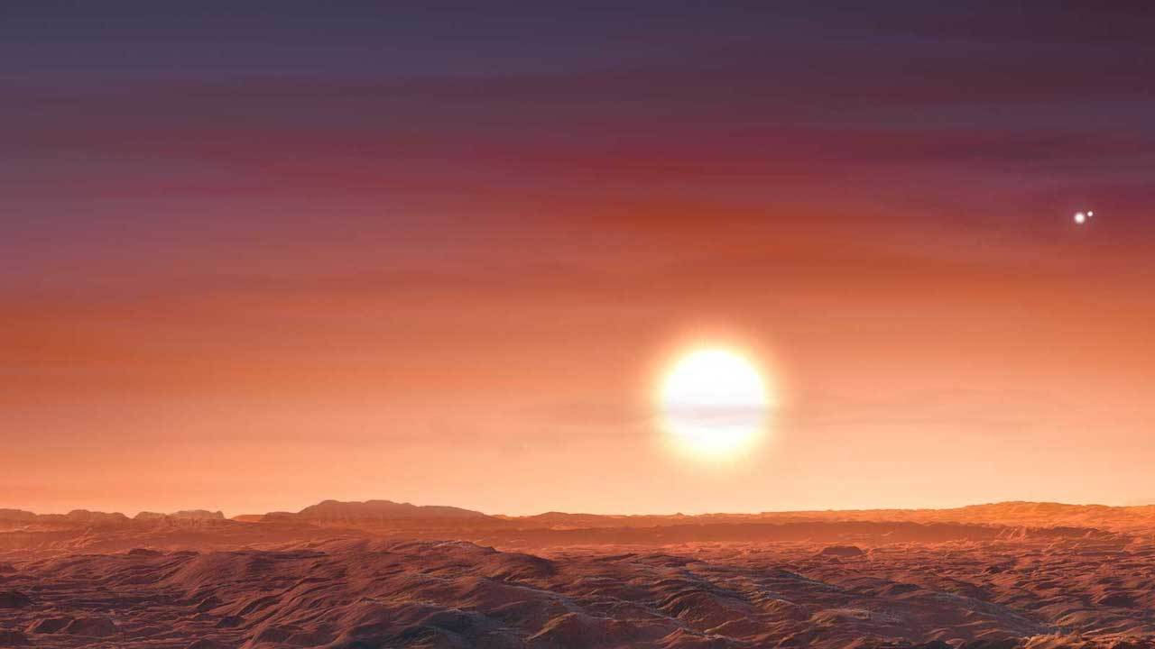 A newly discovered exoplanet, LTT 1445 A b, orbits its parent star tightly; that star, in turn, orbits two others, making a three-star system. The arrangement is not unlike that of our nearest exoplanet neighbor, Proxima b, also with three stars in its sky, as shown in this artist's rendering. Image credit: ESO/M. Kornmesser.