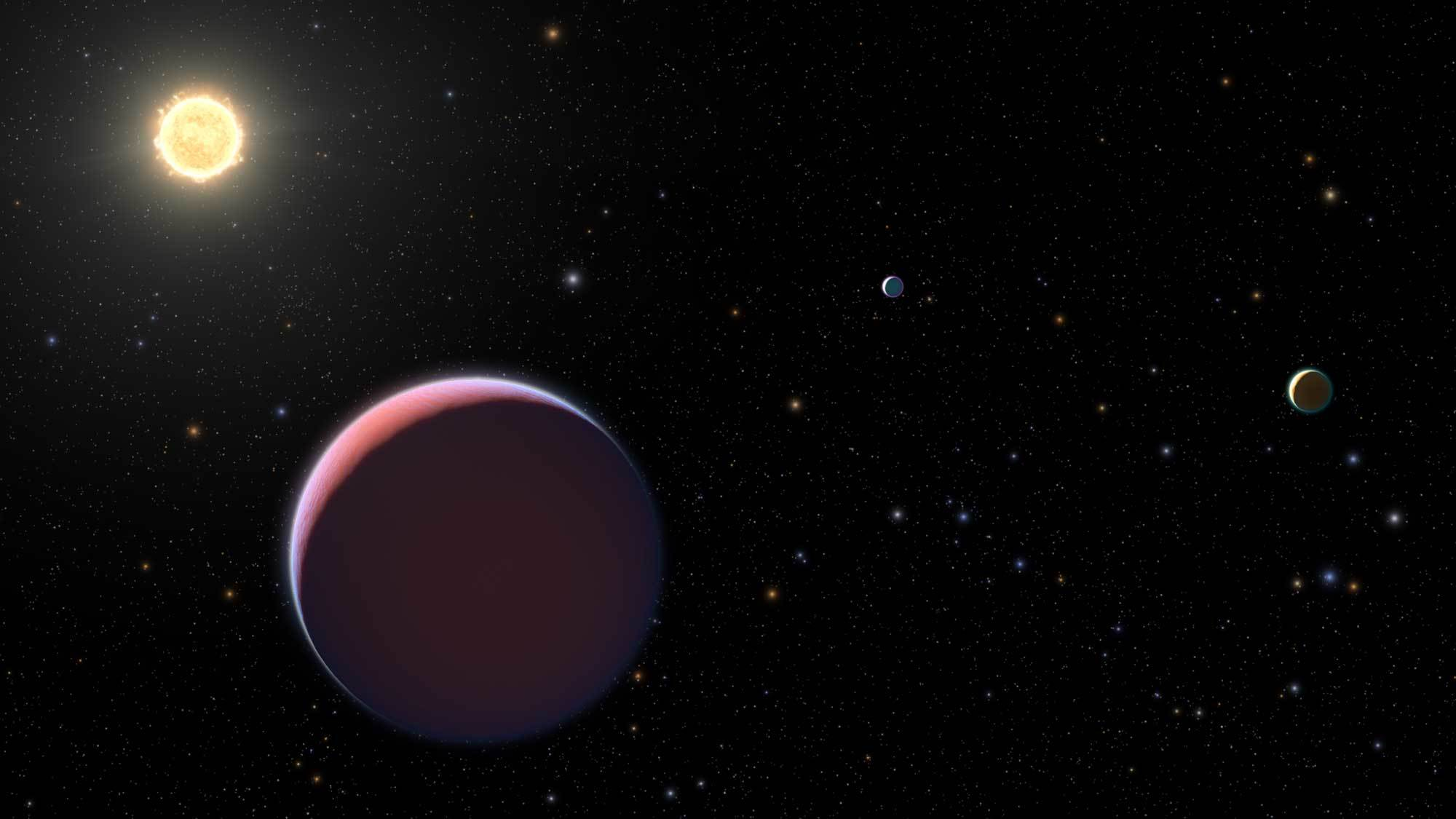 A puffy pink planet is seen in orbit around a star