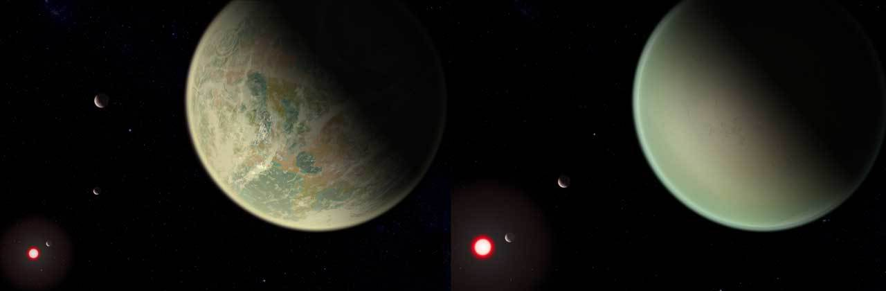 Side by side images of an exoplanet system with the one on the left, simulating a drier atmosphere, which is less cloudy and more clear than the one on the right.
