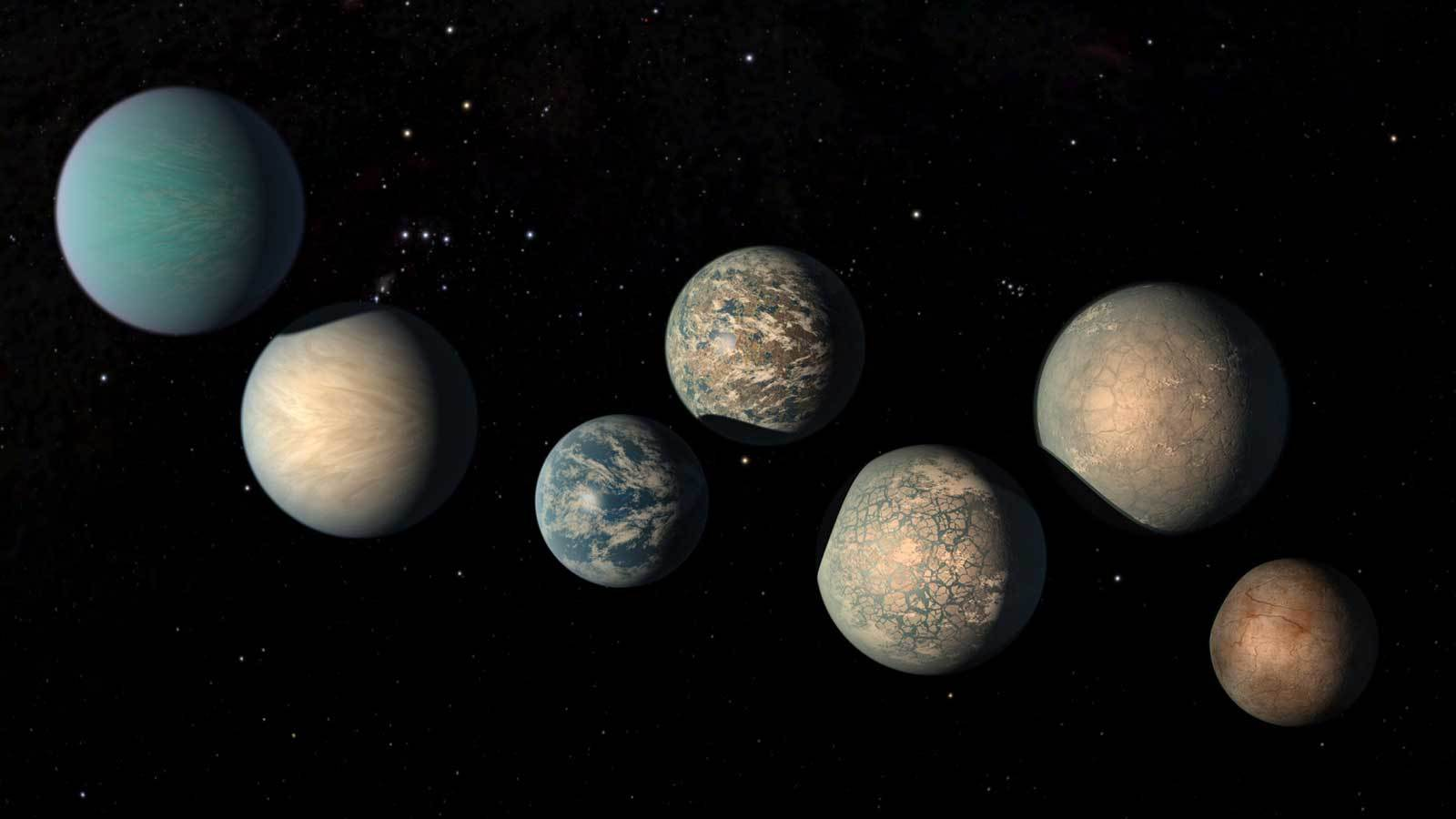 seven earth sized planets are seen in an illustration
