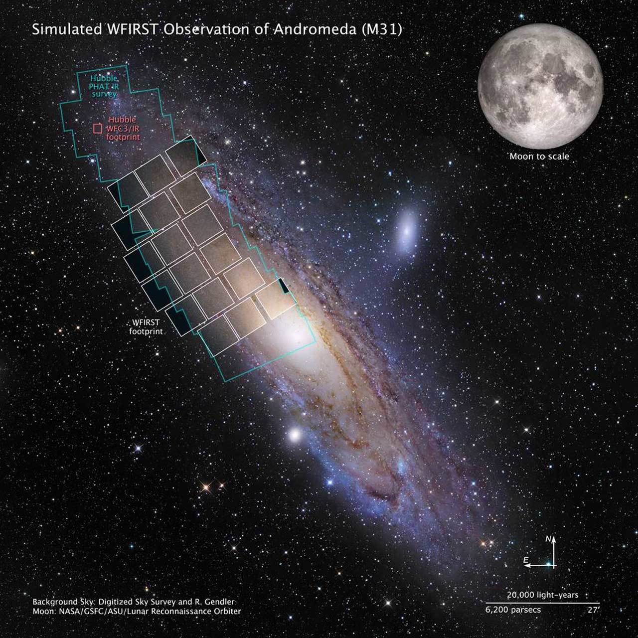 Simulated WFIRST Observation of Andromeda (M31) shows the Moon to scale near the M31 galaxy shows the field of view for the new space telescope. The field of view footprint is vastly larger than Hubble's and covers about half the size of the galaxy.