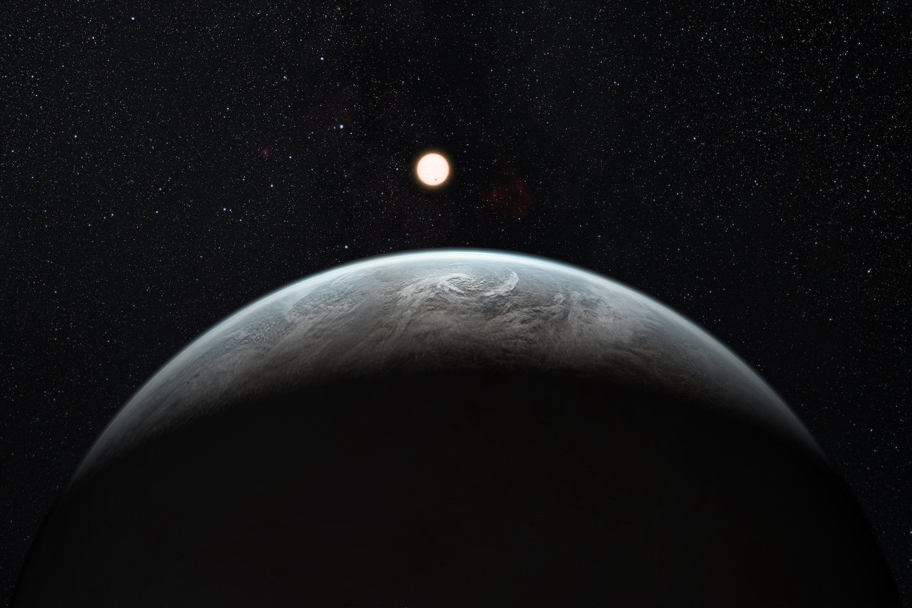 "Artist's rendering of a ""super Earth,"" a planet larger than Earth but smaller than Neptune. A newly discovered star system includes three worlds in this size-range — one of them in the star's ""habitable zone."" Image credit: ESO/M. Kornmesser"