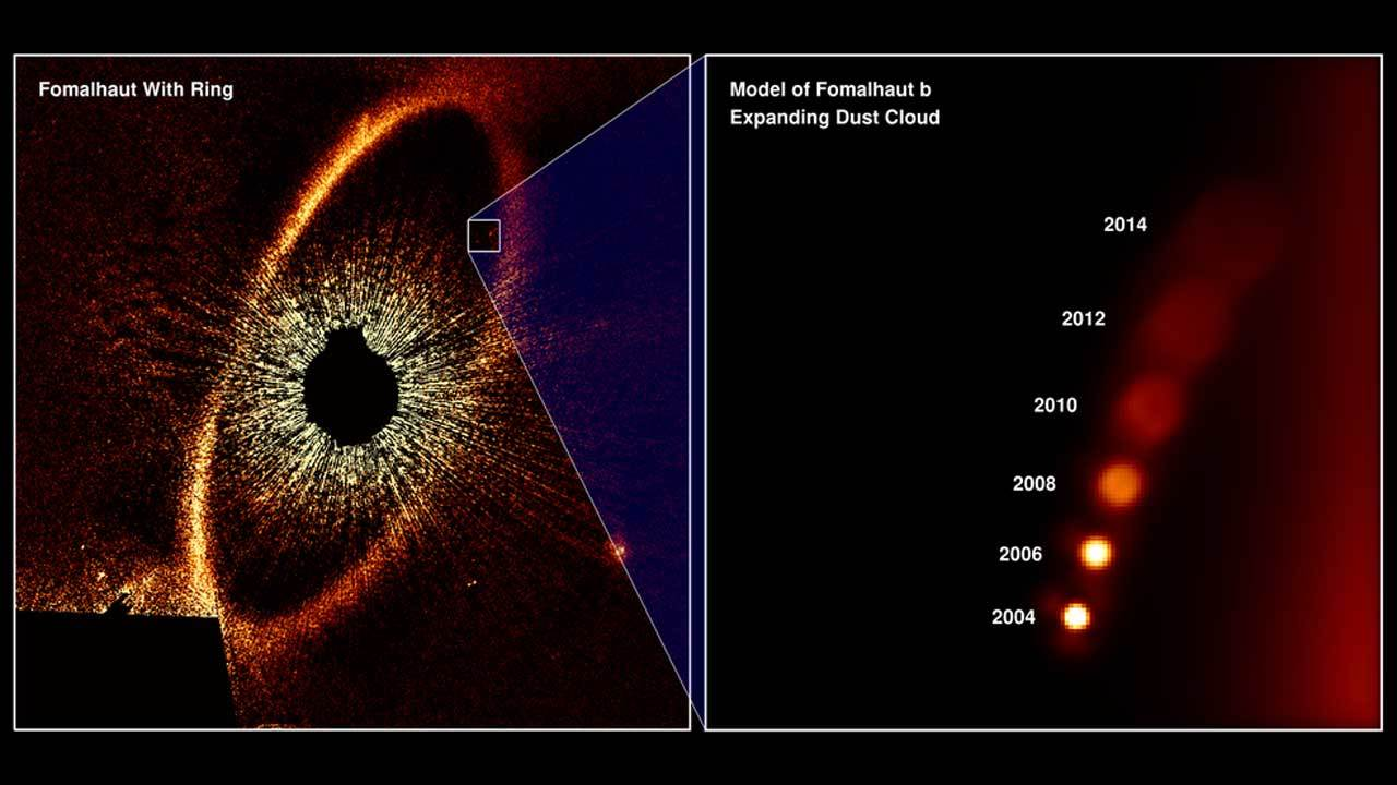 This diagram simulates what astronomers, studying Hubble Space Telescope observations, taken over several years, consider evidence for the first-ever detection of the aftermath of a titanic planetary collision in another star system. The color-tinted Hubble image on the left is of a vast ring of icy debris encircling the star Fomalhaut, located 25 light-years away. The star is so brilliant that a black occulting disk is used to block out its glare so that the dust ring can be photographed. In 2008, astronomers saw what they thought was the first direct image of a planet orbiting far from the star. However, by 2014, the planet candidate faded below Hubble's detection. The best interpretation is that the object wasn't ever a fully formed planet at all, but an expanding cloud of dust from a collision between two minor bodies, each about 125 miles across. The diagram at the right is based on a simulation of the expanding and fading cloud. The cloud, made of very fine dust particles, is currently estimated to be over 200 million miles across. Smashups like this are estimated to happen around Fomalhaut once every 200,000 years. Therefore, Hubble was looking at the right place at the right time to capture this transient event. Credits: NASA, ESA, and A. Gáspár and G. Rieke (University of Arizona)
