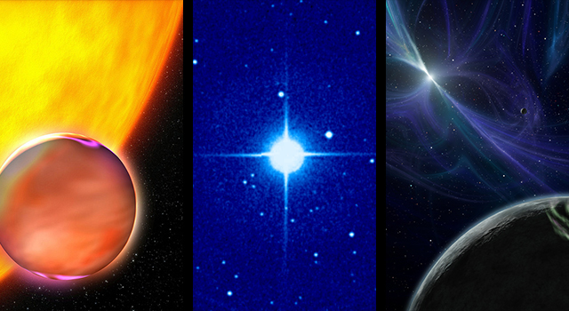 "From left: Artist's concept of a ""Hot Jupiter;"" a photo of 51 Pegasi, host star to the first-even known exoplanet; and an artist's concept of a pulsar planet."