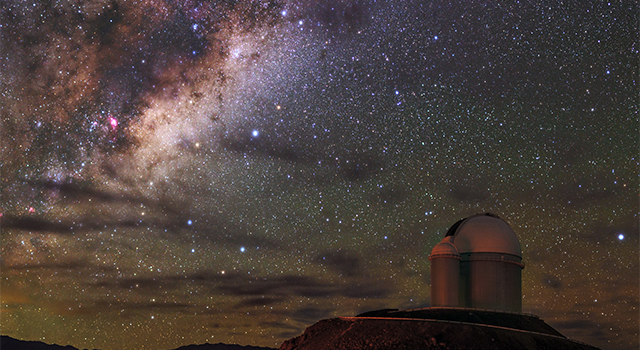The Milky Way galaxy above La Silla Observatory in Chile, where astronomers found three planets orbiting star Wolf 1061, using the extrasolar planet hunter HARPS. Image credit: ESO/B. Tafreshi
