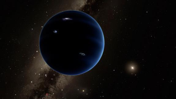An artist's concept of the possible ninth planet, dubbed Planet Nine, which is believed to exist because of the pull it exerts on the outer objects in our solar system. Image credit: Caltech/R. Hurt (IPAC)