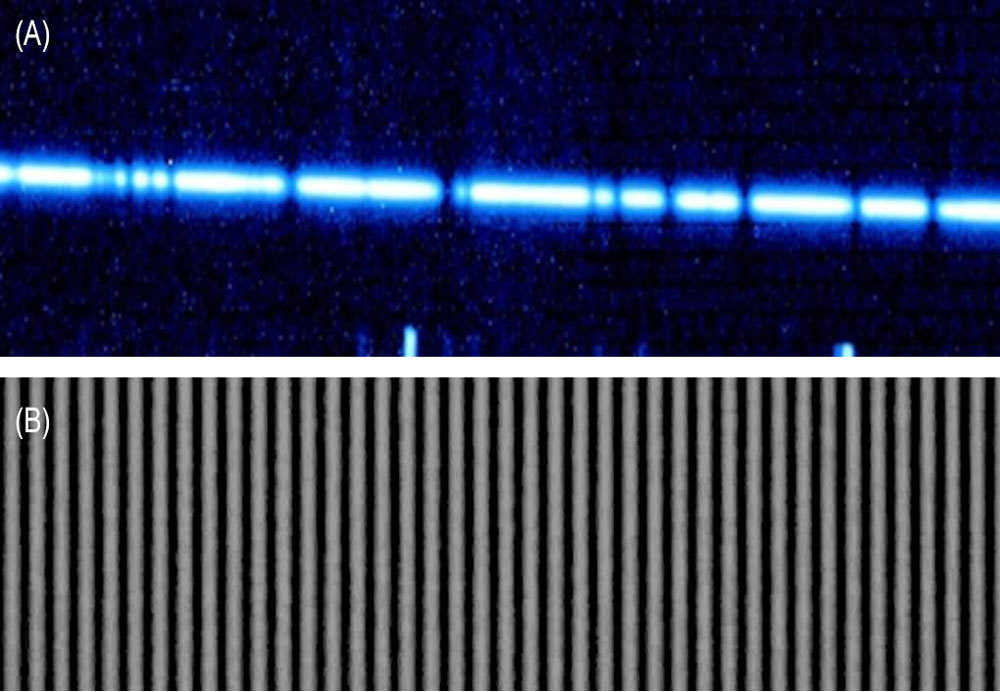 (A) A segment of the near infrared (IR) spectrum of a cool star as observed by the Keck II telescope's near infrared spectrometer (NIRSPEC) compared with (B) the near IR spectrum of the laser frequency comb. Image credit: Emily Martin