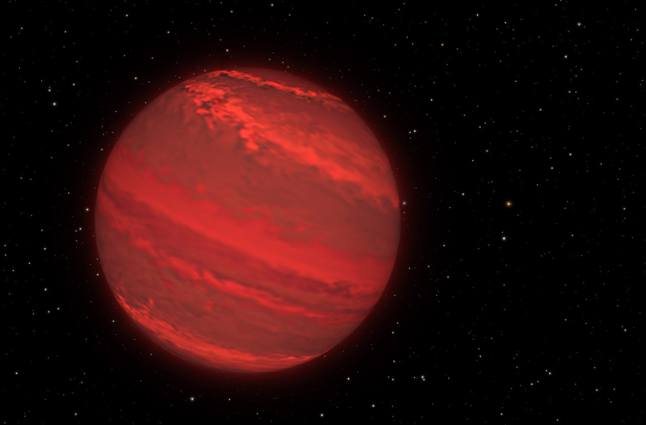 An artist's concept of 2M1207b, a planet that is four times the mass of Jupiter and orbits 5 billion miles from its brown dwarf companion object. The planet is only 170 light-years away, but has been directly imaged by the Hubble Space Telescope. Image credits: NASA/ESA/G. Bacon/STScI