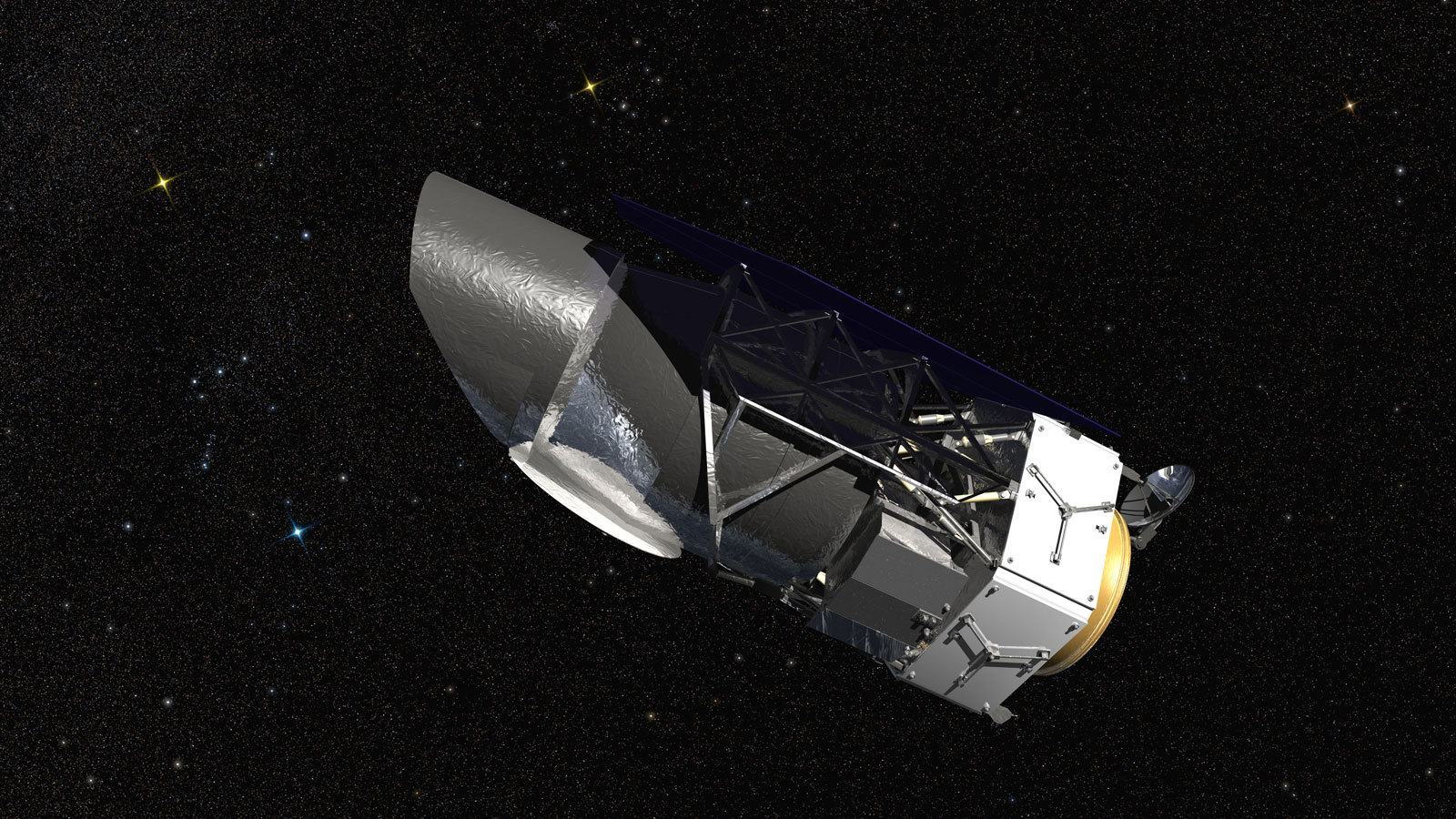 WFIRST, the Wide Field Infrared Survey Telescope, is shown here in an artist's rendering. It will carry a Wide Field Instrument to provide astronomers with Hubble-quality images covering large swaths of the sky, and enabling several studies of cosmic evolution. Image credit: NASA/Goddard Space Flight Center/Conceptual Image Lab