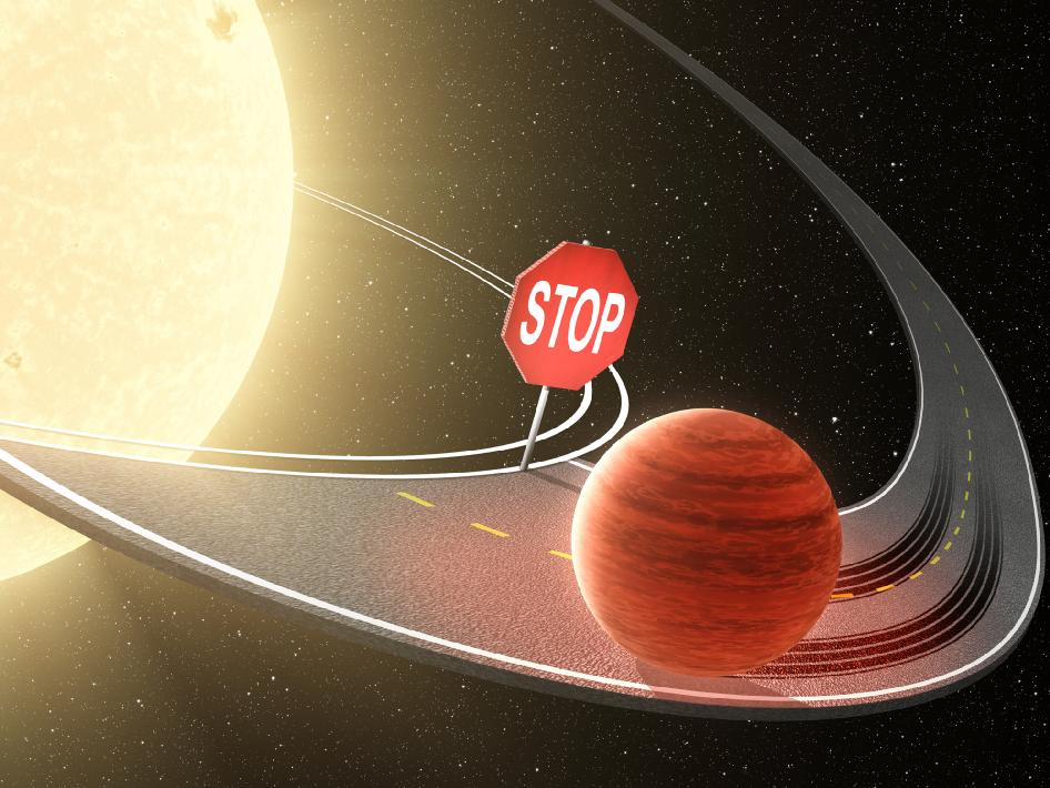 On the Road Toward a Star, Planets Halt Their Migration (Artist Concept)