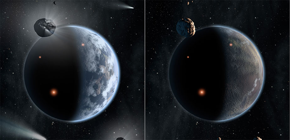 A Tale of Two Worlds: Silicate Versus Carbon Planets (Artist Concept)