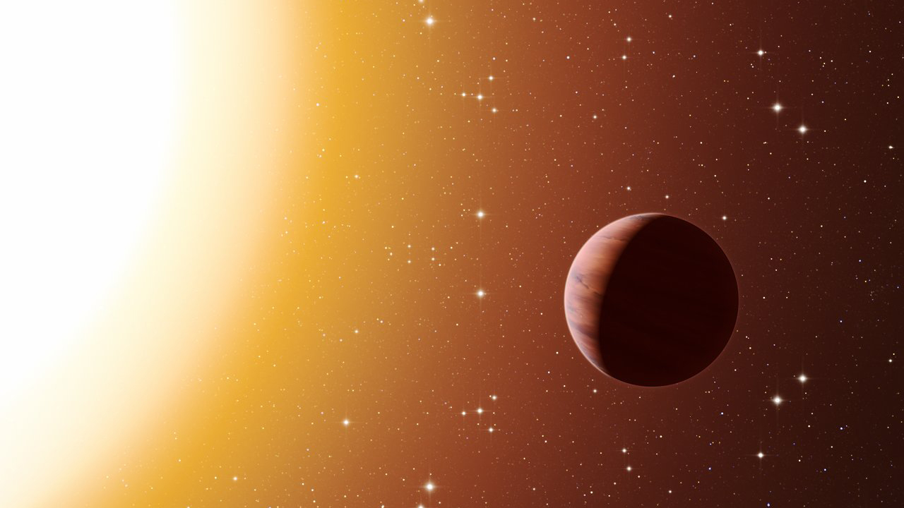 A pan through a star cluster shows a hot gas giant planet.